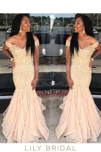 Applique Off Shoulder Cap Sleeves Zipper-Up Floor-Length Mermaid Evening Dress