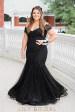 Applique Off Shoulder Short Sleeves Zip-Up Plus Size Floor-Length Mermaid Evening Dress