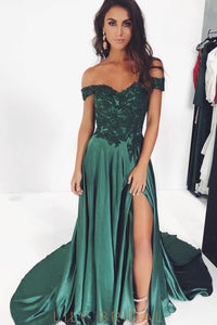 Elegant Applique Off Shoulder Zipper-Up Long Slit Satin Prom Dress with Sweep Train