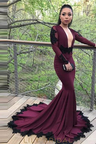 Applique Plunge Neck Long Sleeves Open Back Long Stretch Mermaid Prom Dress