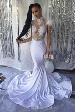 Applique Rhinestone Feathers Fur Illusion High Neck Cap Sleeves Long Mermaid Prom Dress