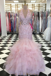 Applique Rhinestone V-Neck Sleeveless Floor-Length Mermaid Tulle Evening Dress