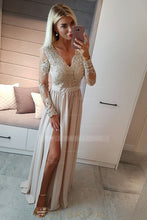 Applique Illusion Scalloped Edge Neck Long Sleeves Long Pleated Split Evening Dress