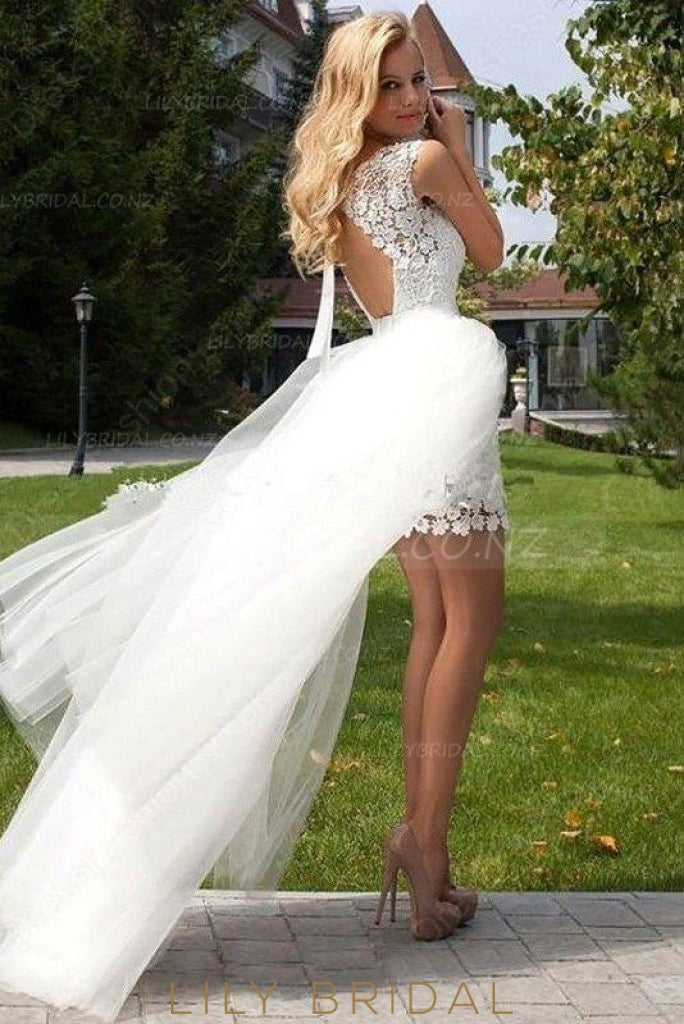 Applique Scoop Neck Cap Sleeves Short Solid Sheath Wedding Dress With Overskirt