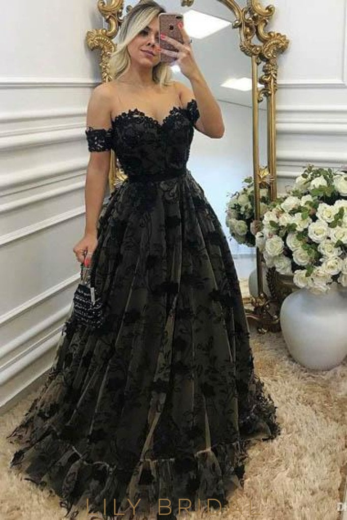 Applique Sheer Neck Cold Shoulder Floor-Length Pleated Tulle Evening Dress