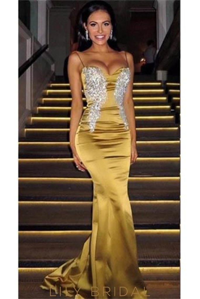 Applique Spaghetti Straps Sleeveless Long Stretch Mermaid Evening Dress