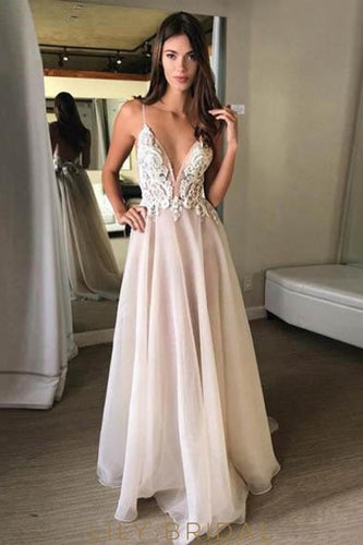 Applique Spaghetti Straps Sleeveless Backless Long Solid Sheath Wedding Dress