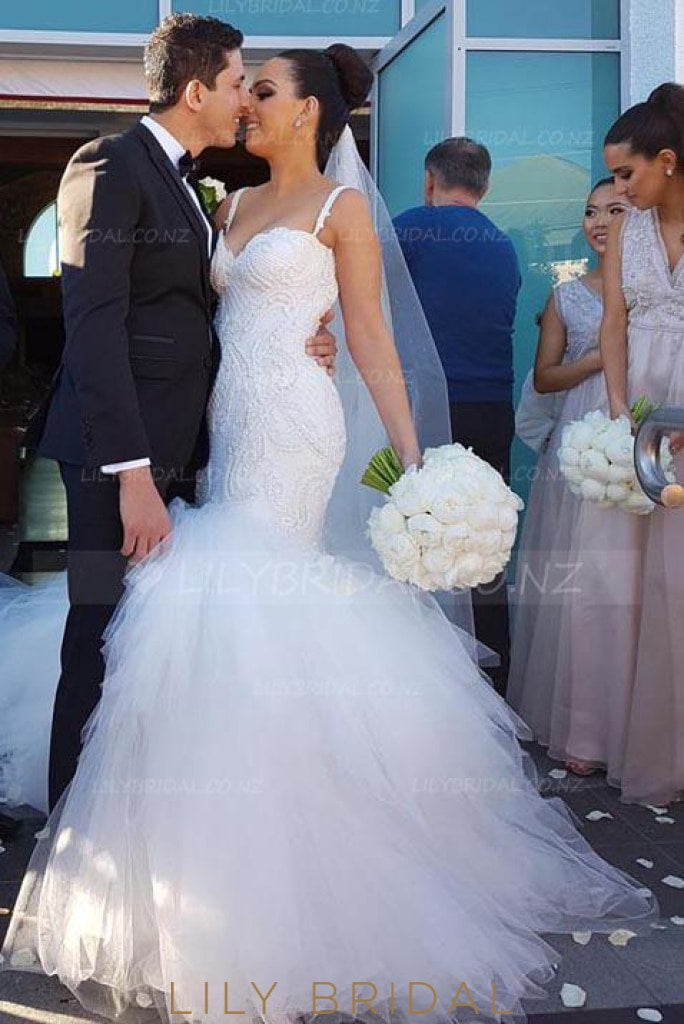 Graceful Applique Spaghetti Straps Sleeveless Long Solid Tulle Mermaid Wedding Dress