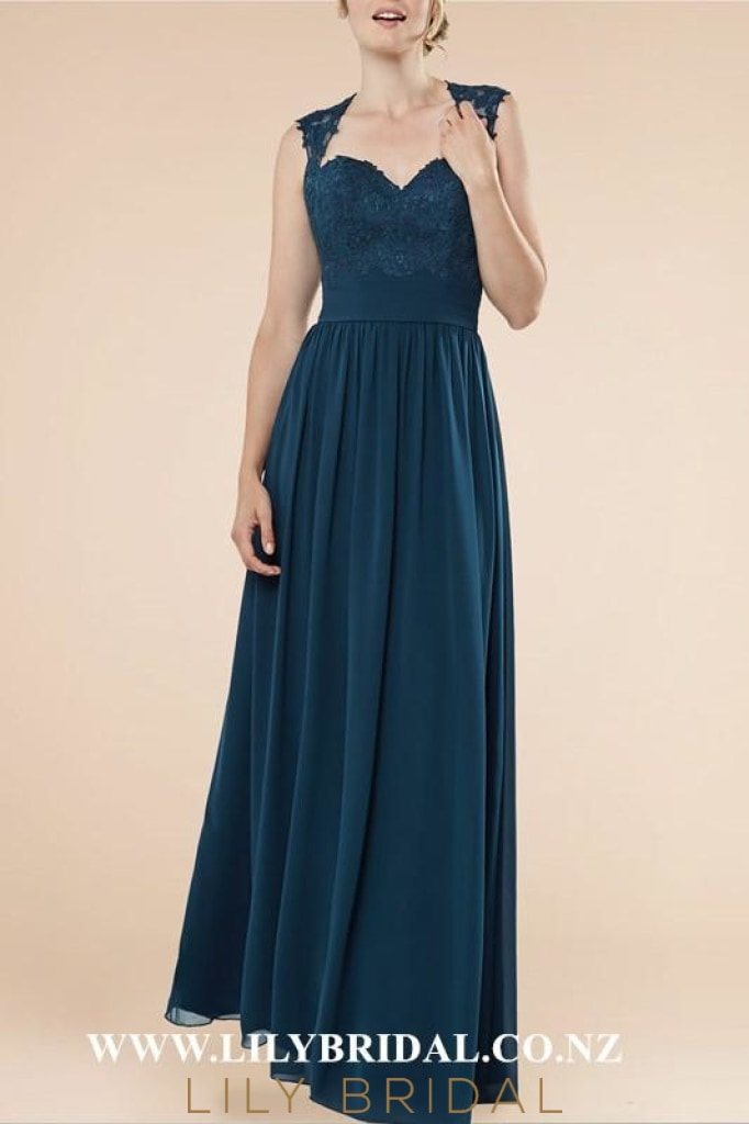 Applique Straps Cap Sleeves Open Back Floor-Length Ruched Sheath Bridesmaid Dress