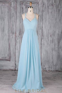 Applique Straps Sleeveless Zipper-Up Long Solid Ruched Sheath Chiffon Bridesmaid Dress