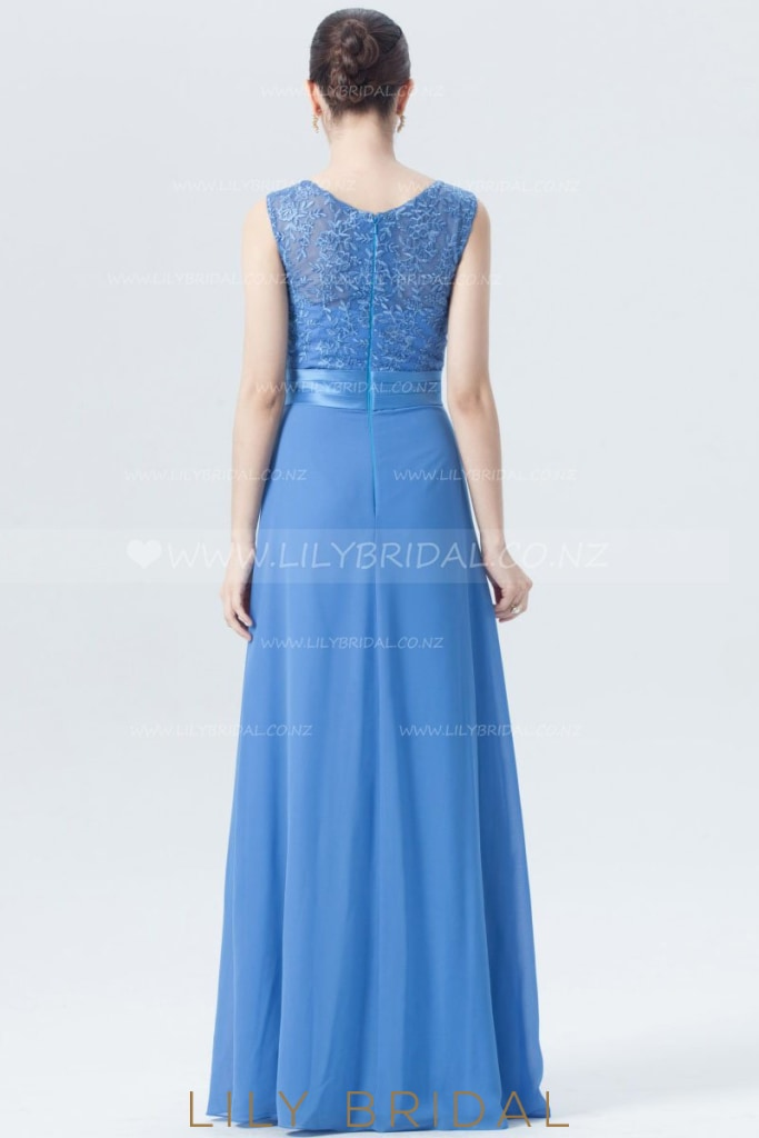 Appliqued Strap Chiffon Floor-Length Bridesmaid Dress in Blue