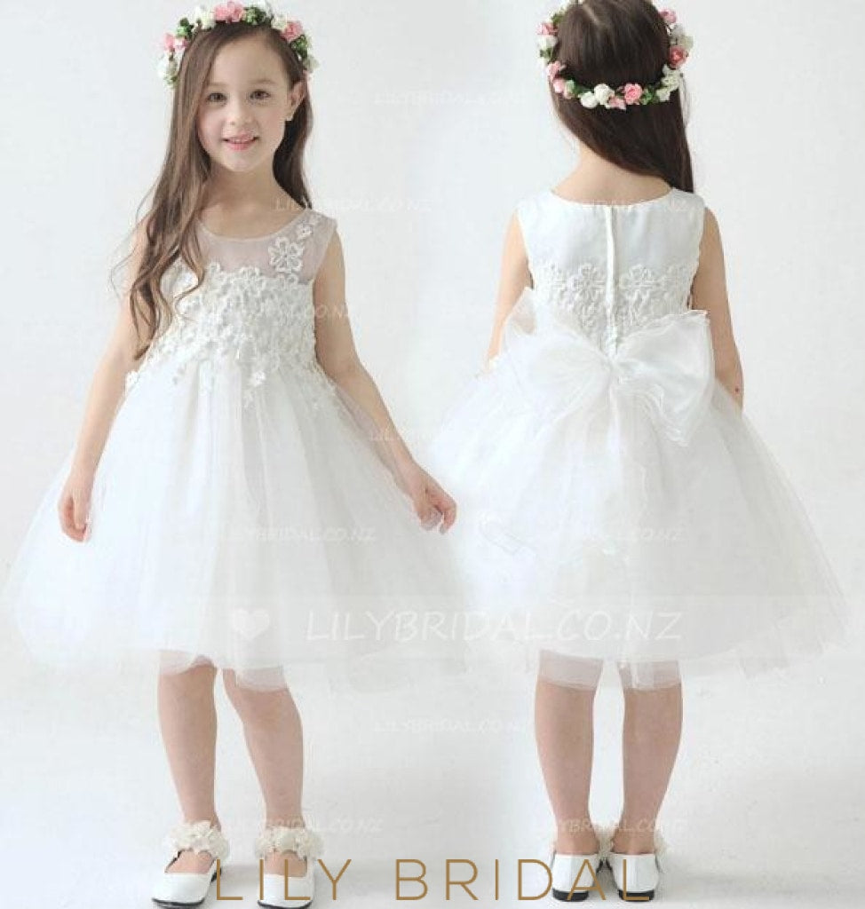Appliqued Tulle Ball Gown Flower Girl Dress With Bowknot Back Detail
