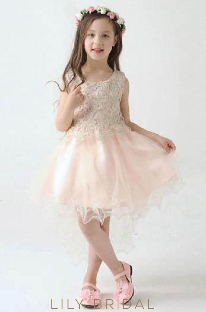 Asymmetrical Satin Tulle Flower Girl Dress With Lace Bodice