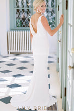 Backless Cowl Back Court Train Satin Mermaid Bridal Dress With Cowl Neck