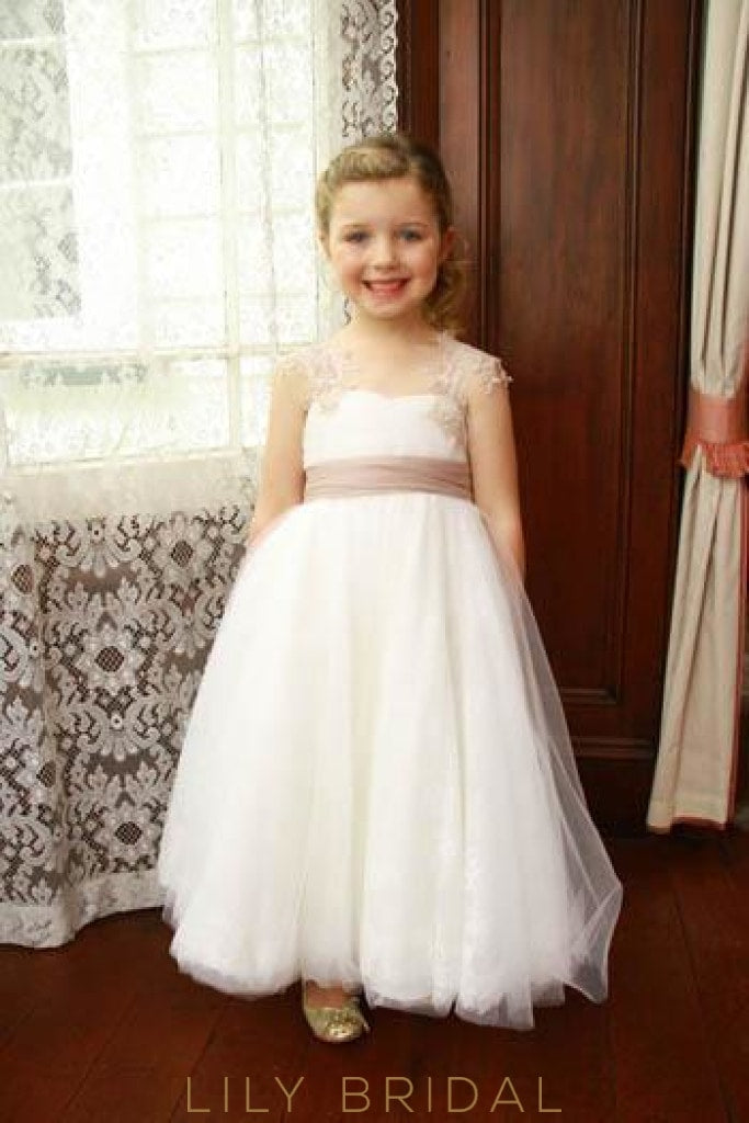 Backless Floor-Length Tulle Flower Girl Dress With Lace & Sash