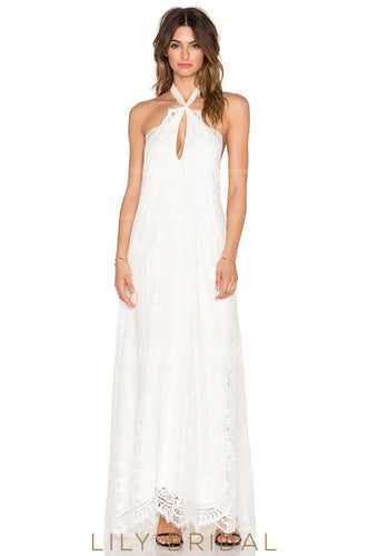 Boho Backless Halter Sweep Train Column Lace Wedding Dress With Ribbon
