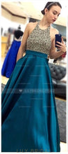 Backless Halter Sequinned Floor-Length Charmeuse Prom Dress With Pockets