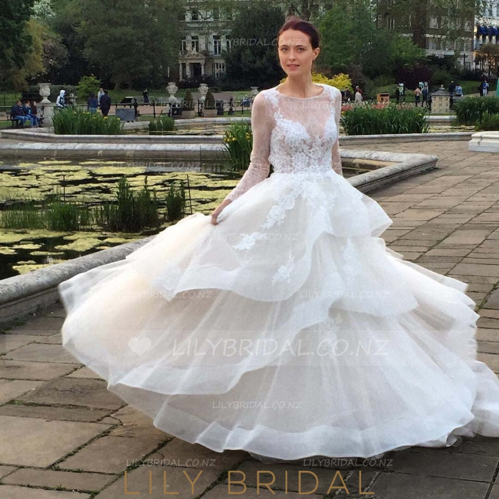 Backless Long Sleeve Layered Illusion Organza Wedding Dress With Lace Applique