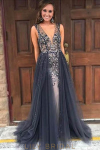 Backless Low V-Neck Beaded Long Prom Dress With Tulle Overskirt