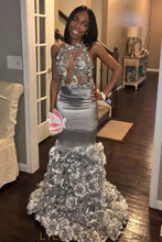 Backless Halter Floor-Length Mermaid Silver Prom Dress With Hand-Made Flower