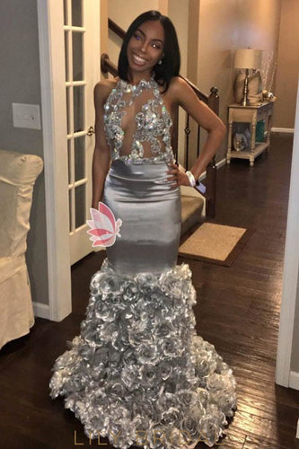 Backless Mermaid Silver Prom Dresses with Jewel Neck Floor Length
