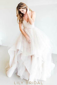 Backless Spaghetti Strap Sequinned Tiered Ruffle Tulle Bridal Gown