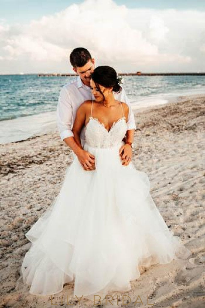 Backless Spaghetti Strap Sweep Train Tulle Beach Wedding Dress With Lace Bodice