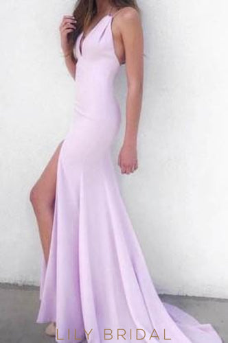 Backless Spaghetti Strap V-Neck Long Jersey Evening Dress With Slit