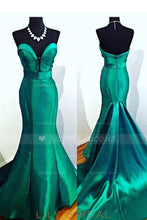 Backless Strapless Satin Mermaid Prom Dress With Court Train