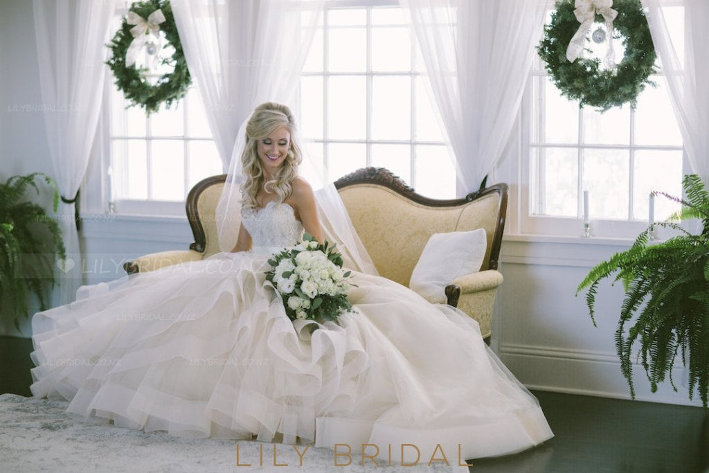 Backless Strapless Sweetheart Ivory Organza Bridal Dress With Lace Applique