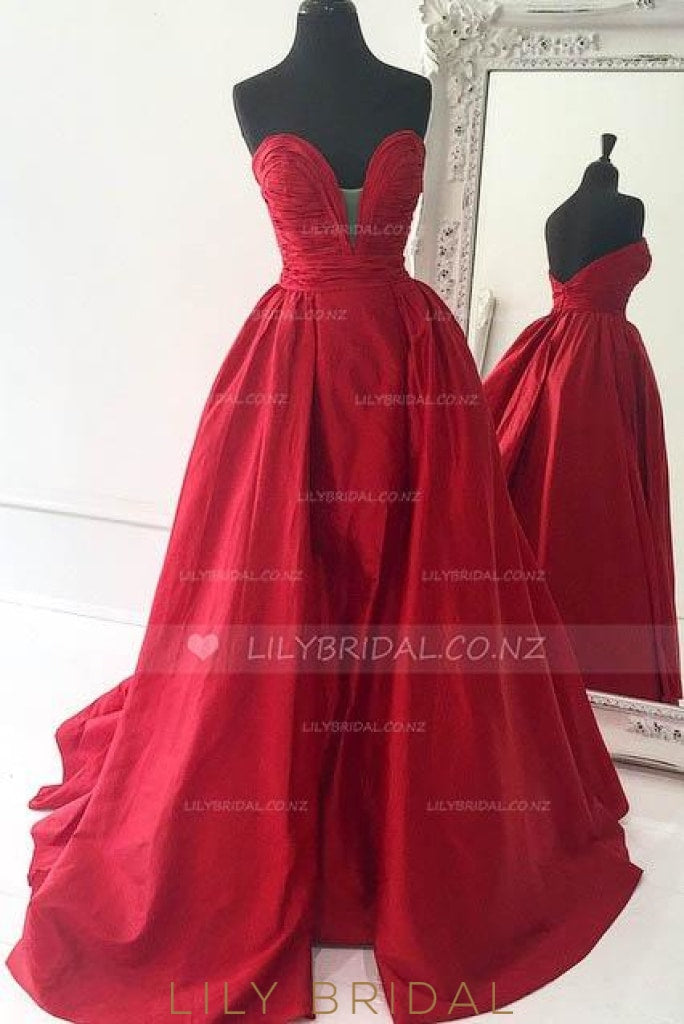 Backless Strapless Sweetheart Ruched Satin Prom Dress With Overskirt