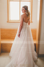 Backless Strapless Sweetheart Tulle Wedding Dress With Ribbon
