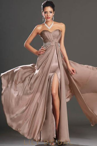 Backless Sweetheart Strapless Beaded Floor-Length Chiffon Evening Dress With Slit
