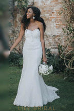 Backless Sweetheart Strapless Court Train Lace Mermaid Wedding Dress