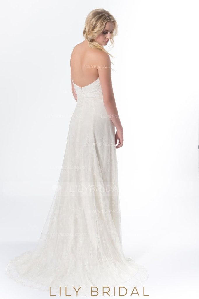 Boho Backless Sweetheart Strapless Court Train Wedding Dress With Belt