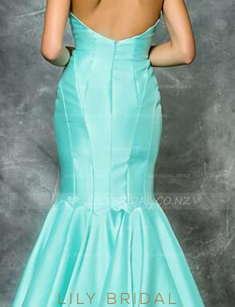 Backless Sweetheart Strapless Drop Waist Floor-Length Satin Mermaid Evening Dress
