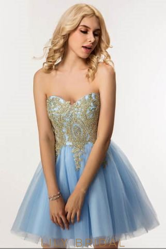 Backless Sweetheart Strapless Tulle Cocktail Dress With Applique