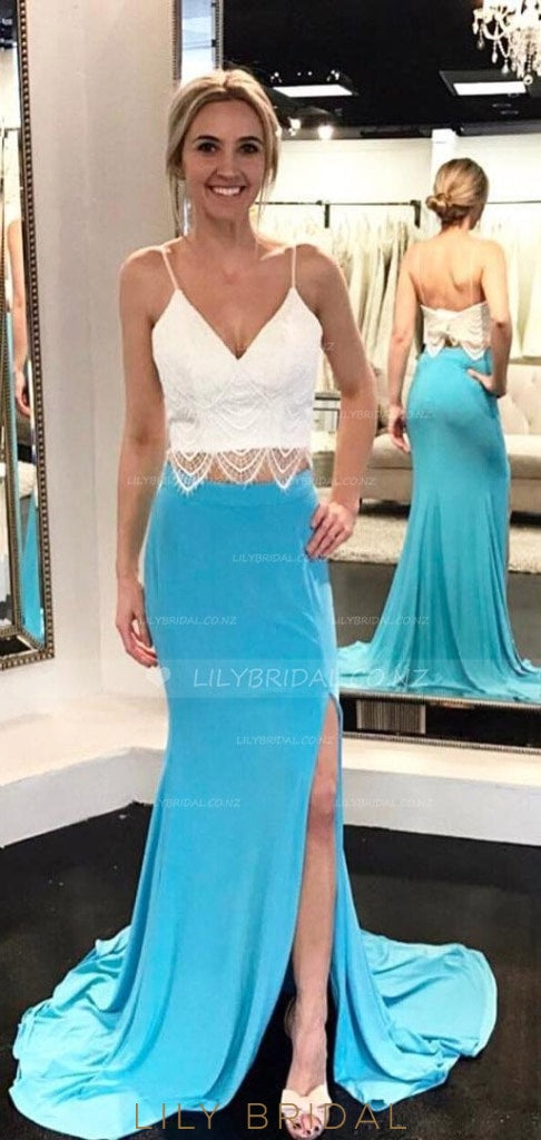 Backless V-Neck Spaghetti Strap Two-Piece Sheath Jersey Prom Dress With Lace