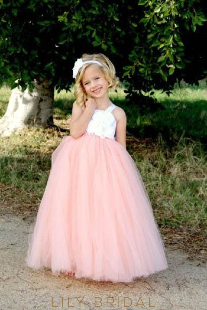 Ball Gown Bubblegum Tulle Floor-Length Flower Girl Dress With Hand-Made Flowers