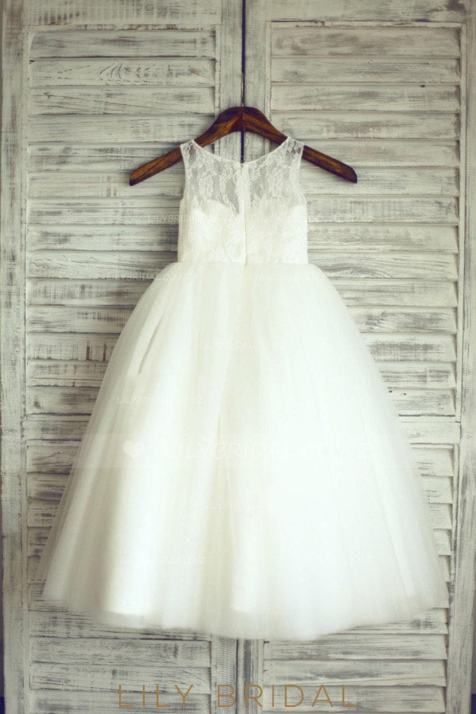 Ball Gown Ivory Tulle Flower Girl Dress With Lace Bodice