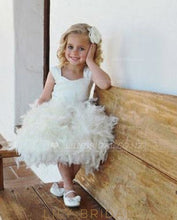 Ball Gown Knee-Length Feather Flower Girl Dress With Satin Bodice
