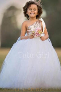 Ball Gown One-Shoulder Floor-Length Ivory Tulle Flower Girl Dress With Sequin Bodice