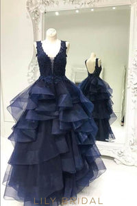 Ball Gown Open Back Tiered Ruffle Organza Prom Dress With Beaded Lace Bodice