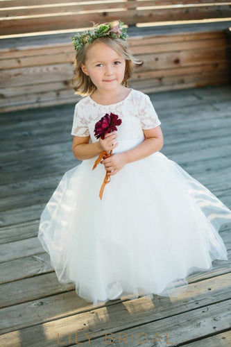 b0bac6a68cc Ball-Gown Jewel Neck Short Sleeve Floor-Length Tulle Flower Girl Dress With  Lace