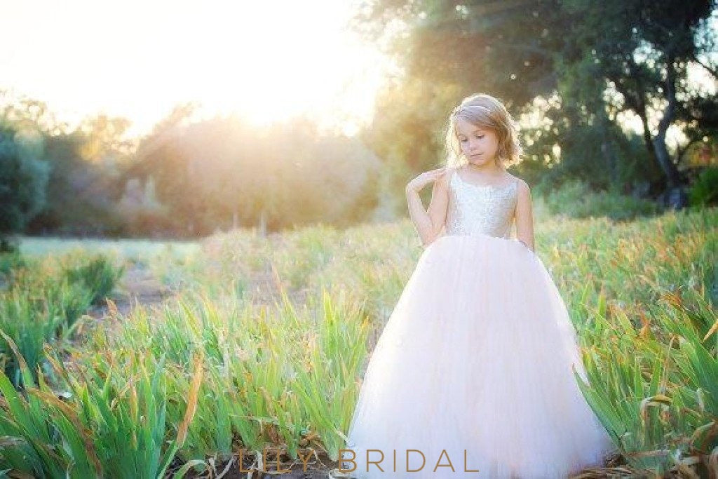 Ball Gown Sleeveless Tulle Sequined Flower Girl Dresses