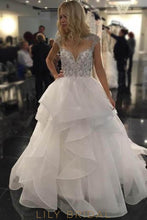 Ball Gown Sweetheart Cap Sleeve Illusion Layered Chiffon Wedding Dress With Beads