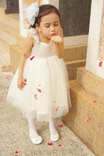 Ball Gown Sweetheart Neck Strap Tea-Length Tulle Flower Girl Dress With Lace