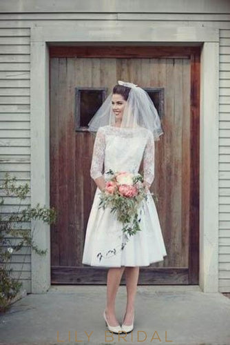 Bateau 1/2 Sleeve Satin Short Wedding Dress With Lace