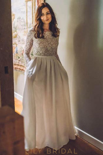 Bateau Long Sleeve Floor-Length Pleated Satin Wedding Dress With Illusion Lace Bodice