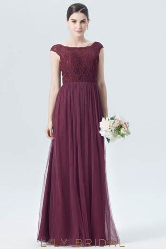 Bateau Neck Cap Sleeve Floor-Length Burgundy Tulle Bridesmaid Dress With Lace Bodice